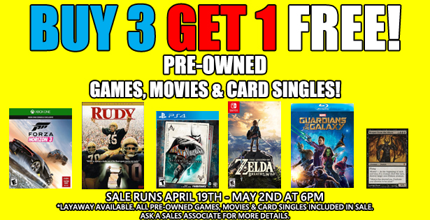 Buy 3 Get 1 Games Movies Cards 4-19-21