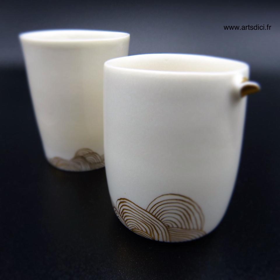 Gobelet porcelaine et or