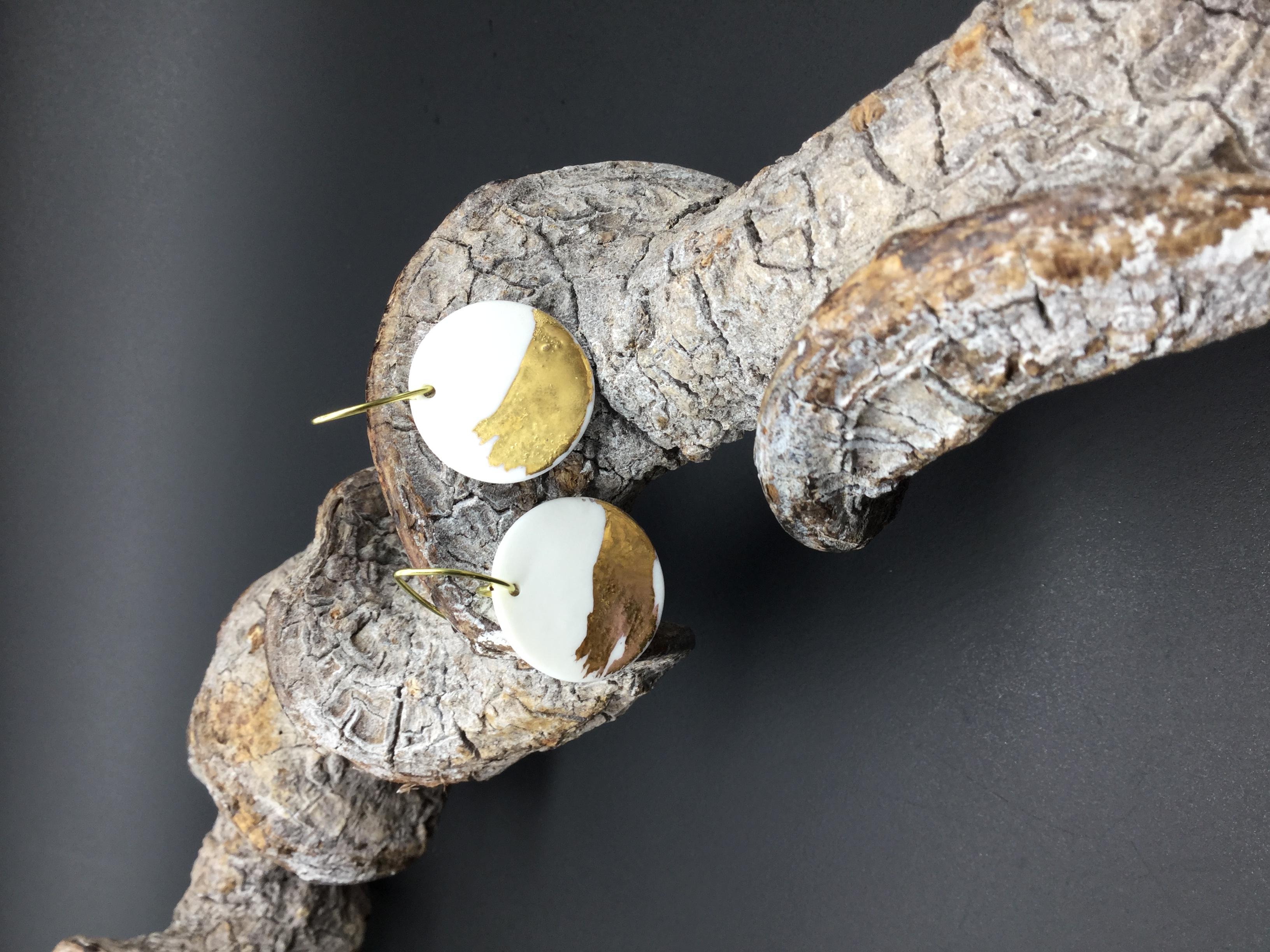 boucle porcelaine et or