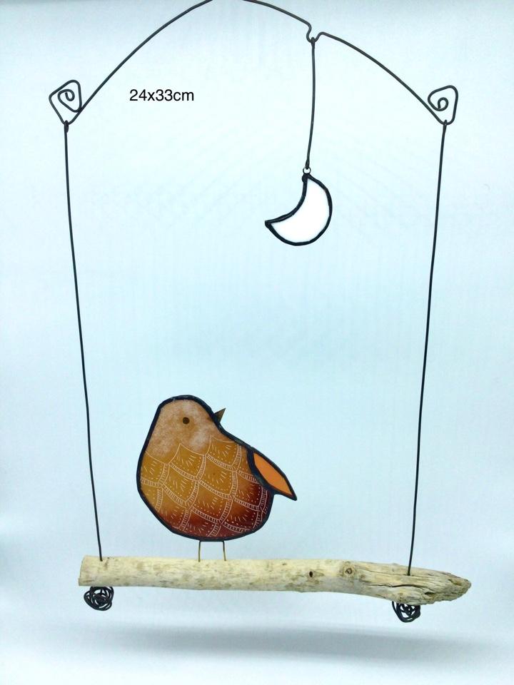 Suspension en verre gravé
