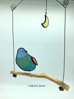 Oiseau en verre tiffany