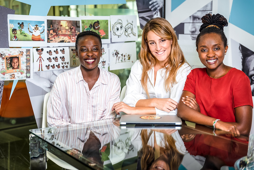 From left Magda Kanjejo (head of content), Lucrezia Bisignani (Founder & CEO) and Clara Muthoni (Head of growth) at Kukua