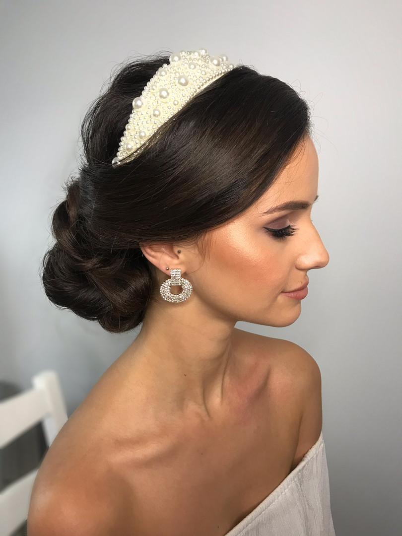Bridal up-do with Beaded Headband