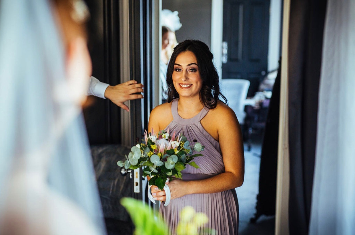 Bridal Reveal to Bridesmaid from Swynford Manor Wedding