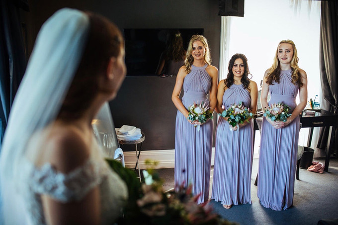 Bridal Reveal to Bridesmaids from Swynford Manor Wedding