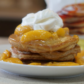 DivineKuizine Complete Fluffy Pancakes with Peach Sauce Topping