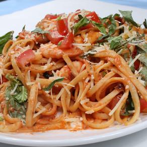 Shrimp Tomato Cream Pasta w/Basil