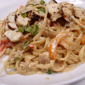 Grilled Chicken, Red and Orange Peppers Fettuccine Alfredo