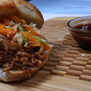 Pulled Chicken Barbecue Sandwich with Caribbean Slaw