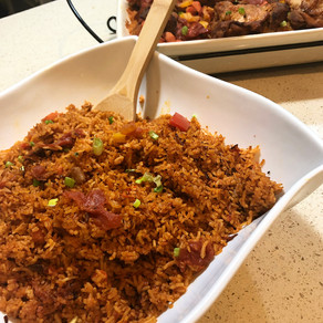 Jollof with Stew Chicken
