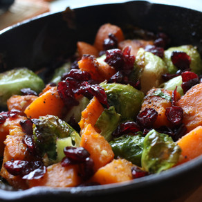 Cranberry Roasted Brussel Sprouts and Sweet  potato  with Divine Kuizine Sugar Spice