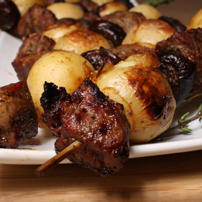 Grilled Steak, Potato & Mushroom Kabobs