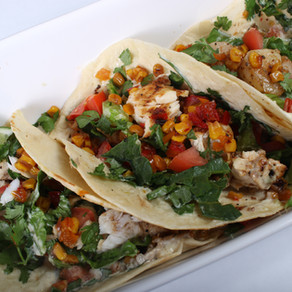 3 Versions of Tacos. Grilled Chicken, Shrimp, and Fish with Sweet Corn Relish