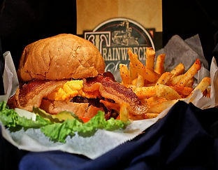 Trainwreck Saloon Cheddar Bacon Burger