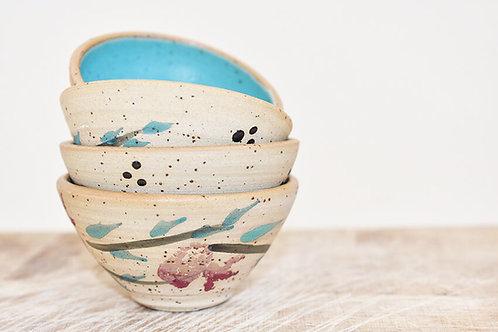 סט של 4 קערות קטנות בצבע טורקיז עם רימונים