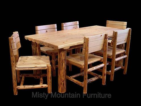 Mountain Hewn Half Log Dining Table Set