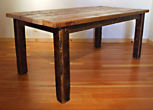 "Reclaimed wood Bunkhouse Table featuring 4 x 4 legs and 2"" barn wood top."