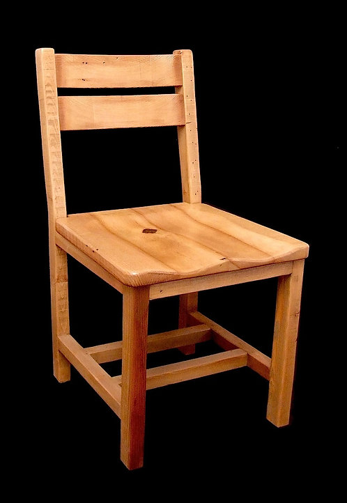 Planned barn wood low back side chair.