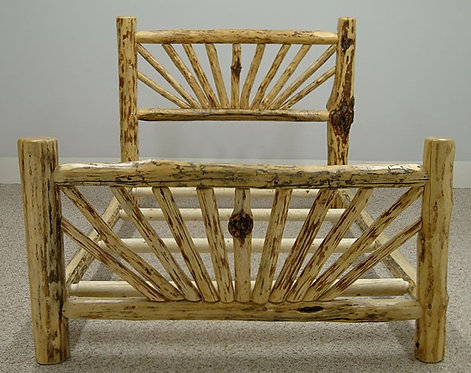 Mountain Hewn Sunburst Log Bed