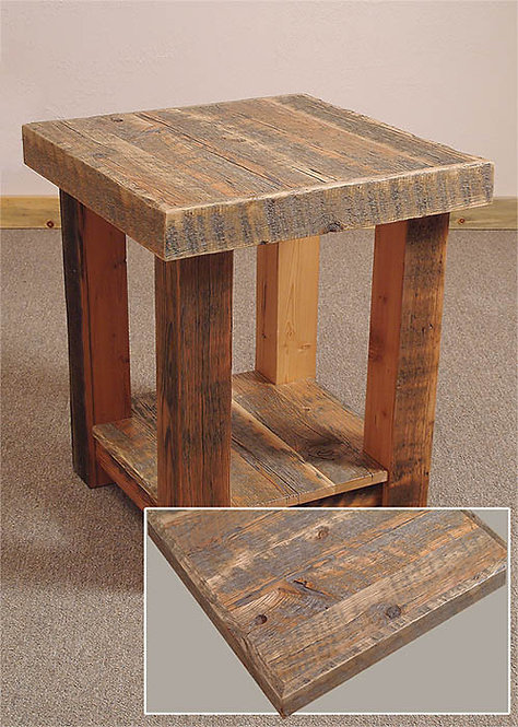 Rustic reclaimed wood end table with circular saw marks and weathered patina.