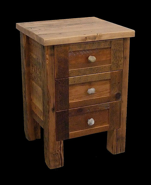 3 drawer nightstand constructed of old barn wood, sanded smooth to the touch.