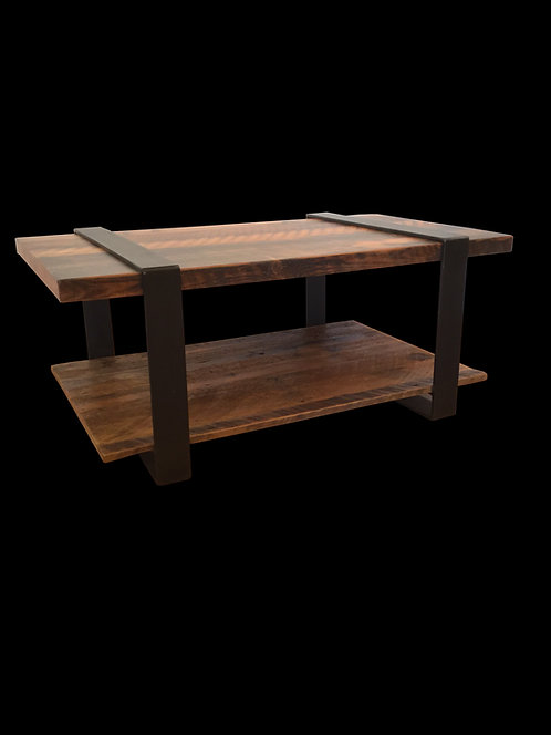 Modern rustic metal strap coffee table with reclaimed wood.