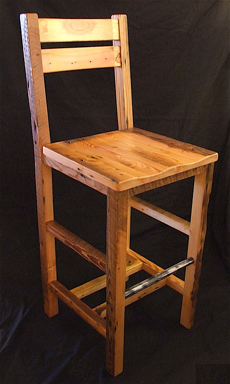 """Barn wood bar chair with metal footrests, contoured seat and backrest available in 28"""",30"""" and 32""""."""