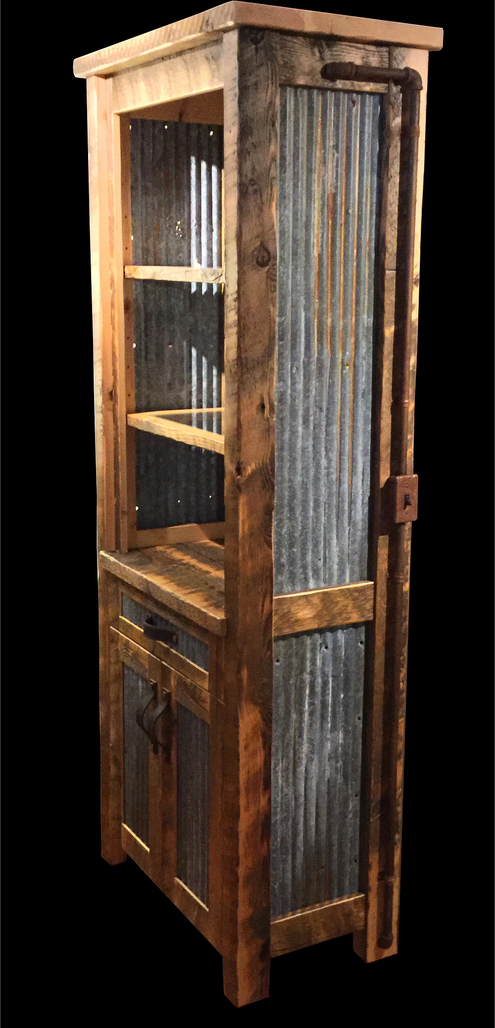 Reclaimed barnwood, corrugated metal, rusty electrical conduit, industrial light, and glass shelve china hutch by Modern Rustic Design.