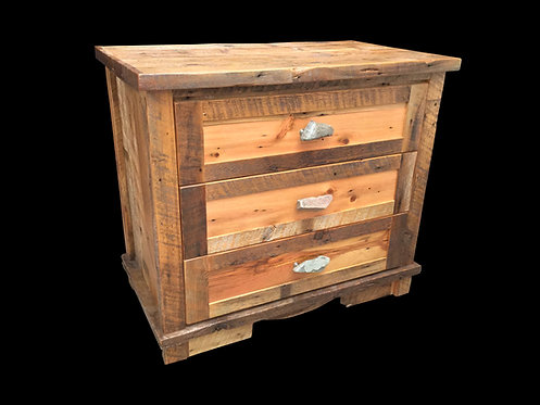 Reclaimed Barn Wood 3 Drawer Dresser with Dovetailed Solid Wood Drawers and Rock Pulls.