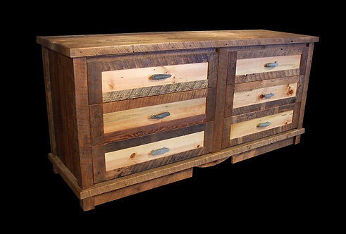 100 year old barn wood 6 drawer dresser with glacial rock pulls and 5 piece drawer fronts.