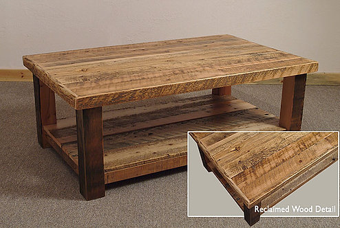 Rustic heritage lakehouse coffee table featuring circular saw marks and lower shelf.