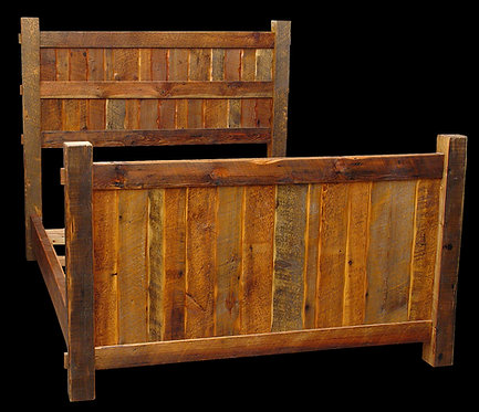 Timeless timber barn wood bed with sculpted panels and beautiful patina.