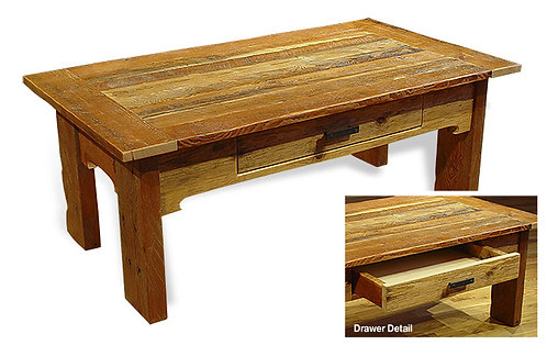 Reclaimed  1 drawer whipsaw coffee table featuring reclaimed wood, breadboard ends and unique stone pull.