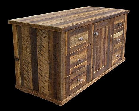 Reclaimed Barn Wood 6 Drawer Flat Screen Cabinet  corner view