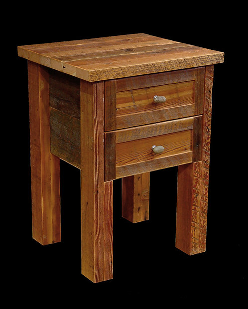 Old barn wood 2 drawer nightstand with 4 x 4 legs.
