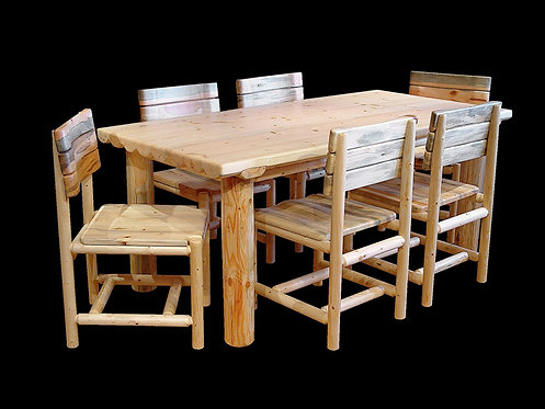 Snow Creek Half Log Dining Table Set