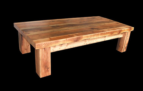 """Big timber coffee table features 6 x 6 legs, 2"""" thick planks and solid joinery."""
