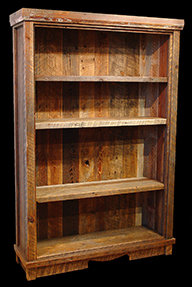Reclaimed Barn Wood Bookcase with adjustable shelves.
