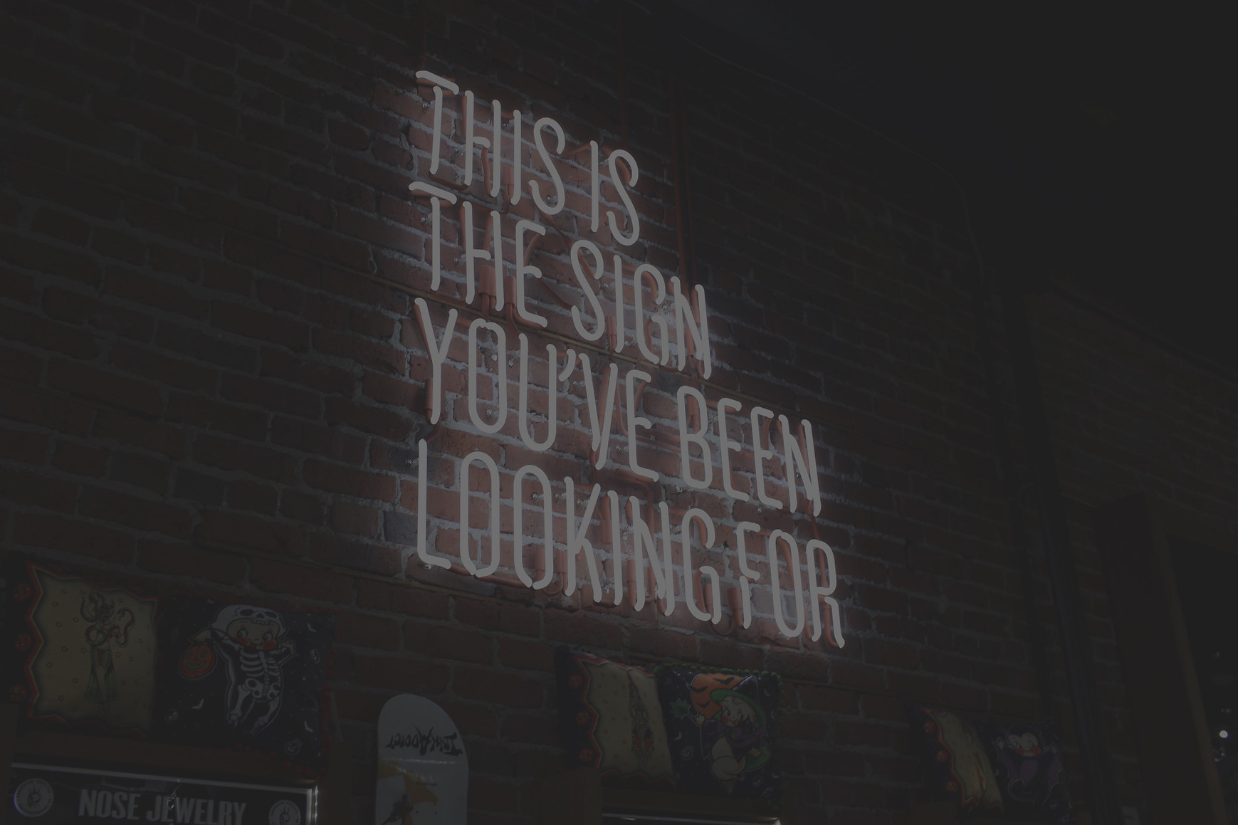 """White neon sign on red brick wall, """"This is the sign you've been looking for."""" Marketing and brand management. Technical and creative writing. Operational leadership. Project management. Safety document creation. Website design."""