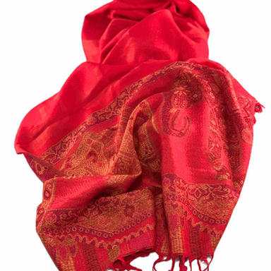 Nepalese Pashmina Scarf - Red Elephant