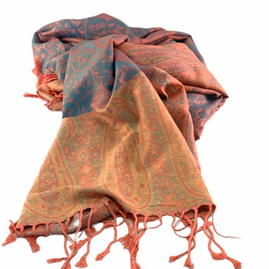 Nepalese Pashmina Scarf - Coral/Blue Paisley