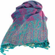 Nepalese Pashmina Scarf - Blue/Pink Paisley