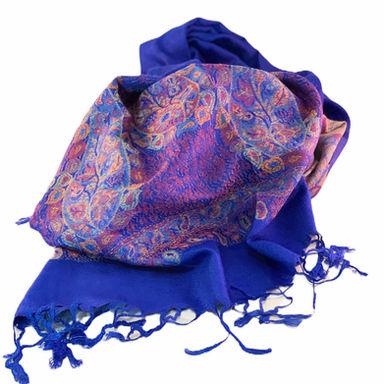Nepalese Pashmina Scarf - Royal Blue Paisley
