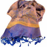Nepalese Pashmina Scarf - Royal Blue & Gold Paisley