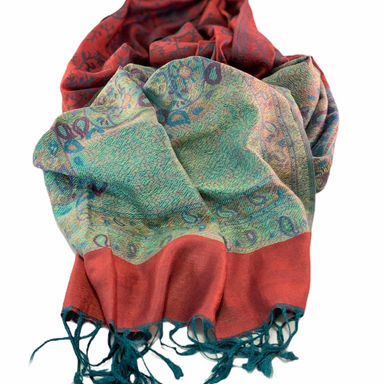 Nepalese Pashmina Scarf - Red/Emerald Paisley
