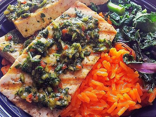 Grilled Tofu w/ Chimichurri with Yellow Rice, Sauteed Kale