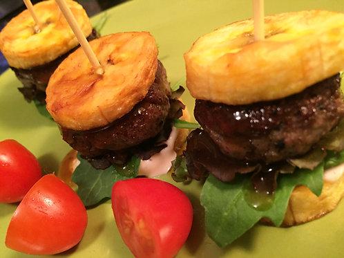Mini Jerk Burgers(Plantain Buns)