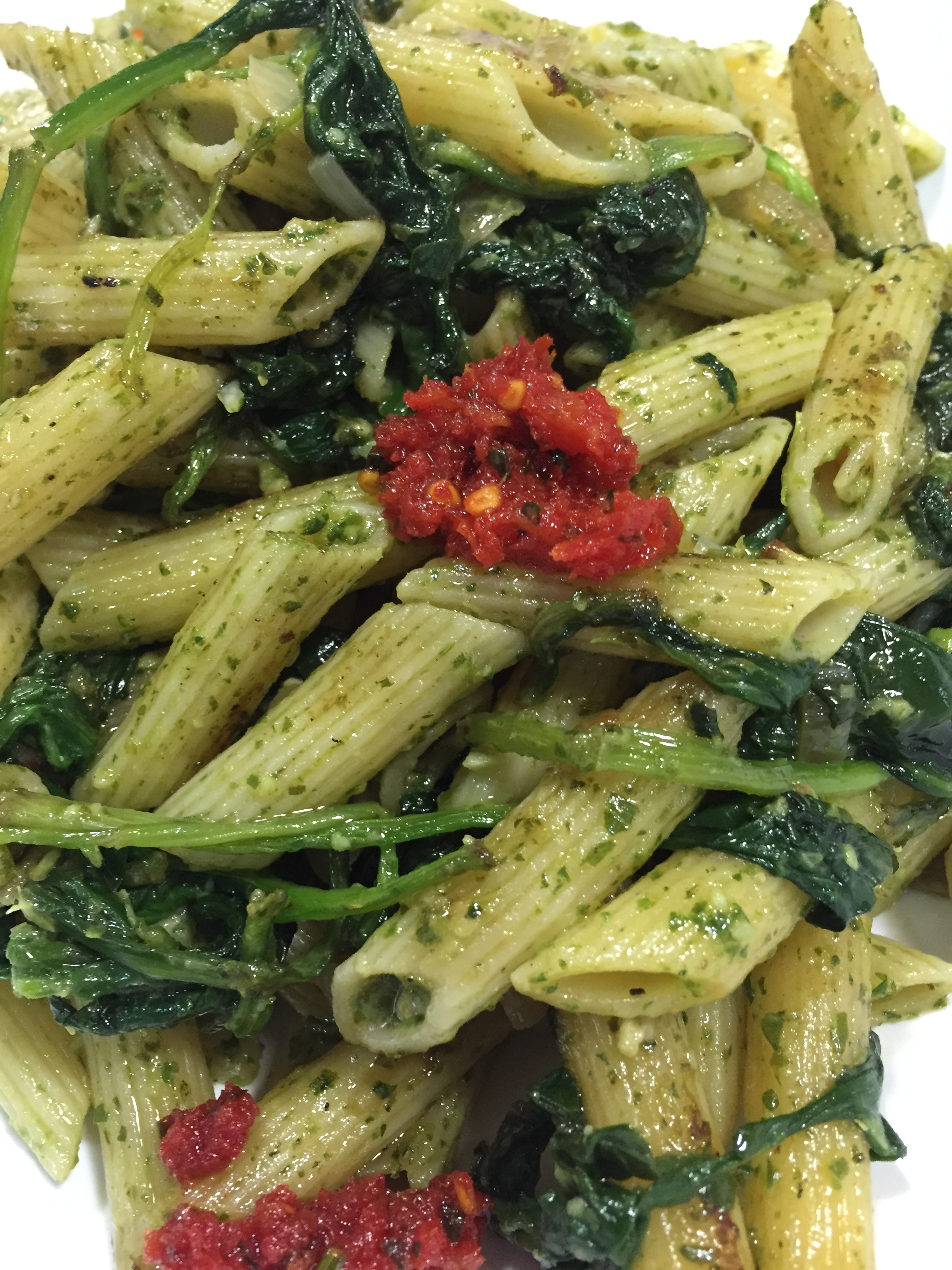 Spinach Penne with Arugula Pesto