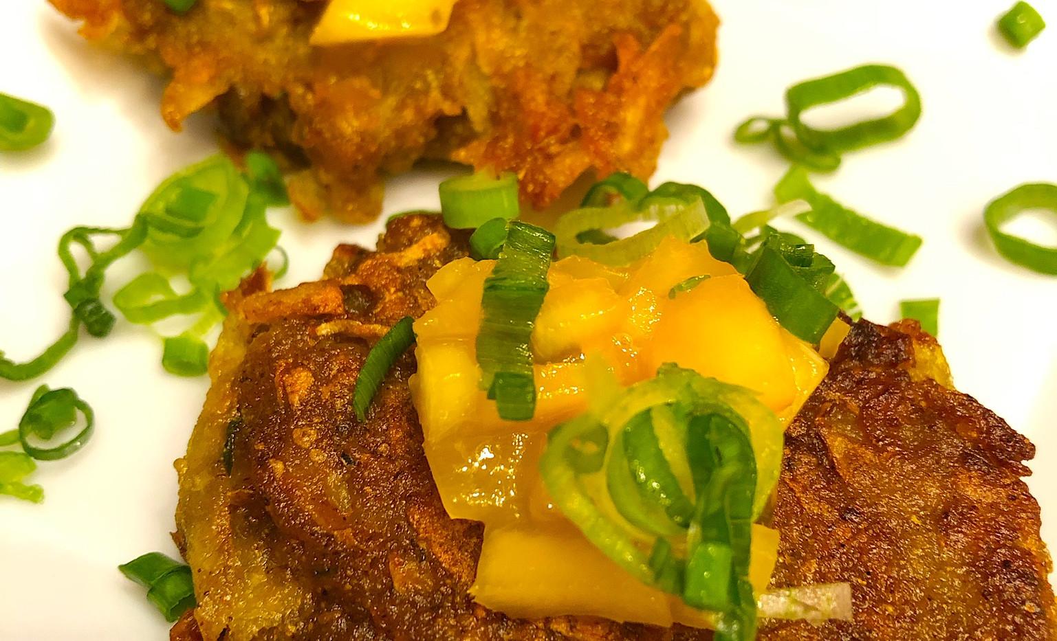 Curry Potato Latke, Mango Tamarind Chutney