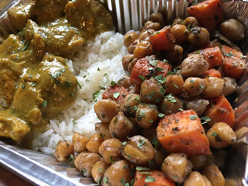 Curry Chicken Breast with Cumin-Espresso Chickpeas, Rice